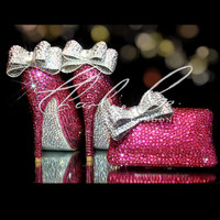 """CHARLIE CO. SET! Pretty In Pink Rose Crystal Strass Peep Toe Heels Bows Soles Matching Crystal Clutch Bag Purse Wedding Set Ivory 4"""" 5"""""""