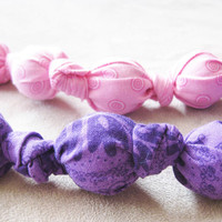Teething Toy - Wood Balls in Pink or Purple Cotton.