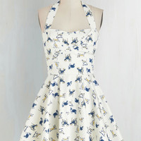 Pinup Short Length Halter Fit & Flare Traveling Cupcake Truck Dress in Dogs