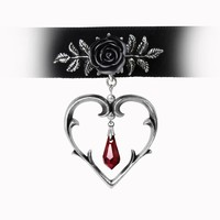 Alchemy Gothic Wounded Love Black Rose, Heart & Teardrop Pendant Choker