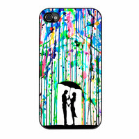 Love Song Romantic In The Rain Paint iPhone 4s Case