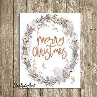 Merry Christmas wreath printable Wall art decor Watercolor Large Christmas Print Glitter Rose Gold Lilac White Feathers Bird DOWNLOAD