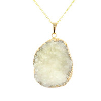 Large Gold Edged White Druzy Necklace