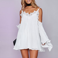 Spring Summer Women Sexy Off Shoulder Mini Dress V Neck Long Flare Sleeve Strapless Solid