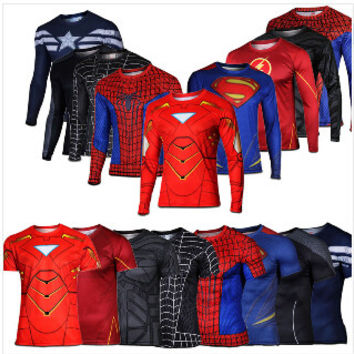 Marvel Super Heroes Avenger Batman T shirt Men Compression Armour Base Layer Long Sleeve Thermal Under Top Fitness XS-8XL