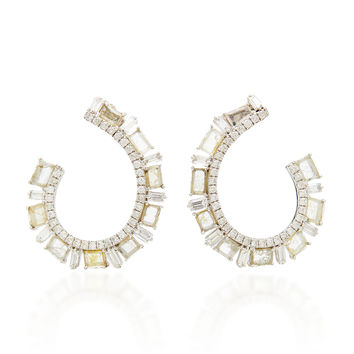 M'O Exclusive: One-Of-A-Kind Baguette Slice Diamond Hoop Earrings | Moda Operandi