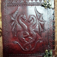 Steampunk Double Dragon emboss Leather Journal Notebook Sketchbook Diary Scrapbook album