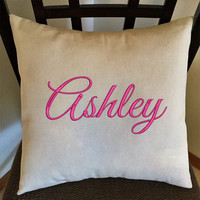 Personalized Name Pillow,  Decorative Embroidered Throw Pillow