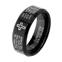*** LASER ENGRAVING SERVICE *** 8mm Beveled Black Lord's Prayer Engraved with Cross Praying Cobalt Free Tungsten Carbide COMFORT-FIT Wedding Band Ring for Men (Size 8 to 13) [DETAIL INFORMATION - PLEASE CLICK AND CHECK THE ITEM DESCRIPTION]