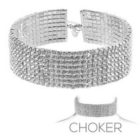 """13.50"""" crystal open cuff choker necklace 1.25"""" wide bridal prom pageant 8 row"""