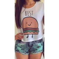 Flymall Best Friends Crop Top Set Graphic Tee (S, Burger)