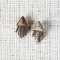 Marble Stone Triangle With Metal Fringe Earrings