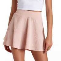 Swirly Textured Skater Skirt by Charlotte Russe - Blush