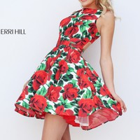 Printed Cutout Cocktail Dress by Sherri Hill