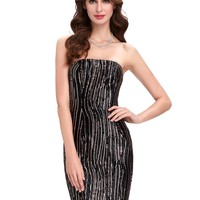 Elegant Black Mini Sequins Cocktail Dresses Girls Summer Dress Sexy Strapless Formal Party Gown Dress