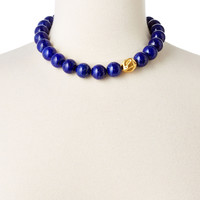 Lapis Beaded Necklace with Gold Accent, Pendant Necklaces