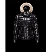 Moncler Armoise Detachable Fur Trimmed Black Jackets Lacquered Nylon Womens 41224515UM