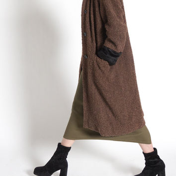 Vintage 80s Black and Brown Nubby Textured Long Winter Coat | M/L