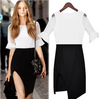 White And Black Ruffle-Sleeve Dress With Cut Slit