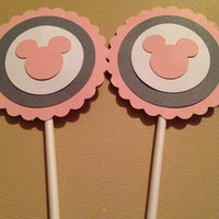 Mickey Mouse Cupcake Toppers in Light Pink - Set of 12 - Baby Shower/Food Picks/Birthday Party