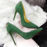 Simple Fashion High-heels Suede Shallow Mouth Pointed D Letter Sexy Woman Shoes