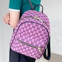 GG canvas embroidered letters ladies shopping backpack school bag daypack Purple