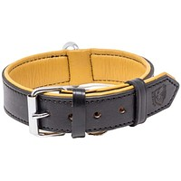 Riparo Genuine Leather Padded Dog Heavy Duty K-9 Adjustable Collar - Black