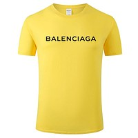 Balenciaga Tide brand printing men and women models wild casual round neck half-sleeved shirt Yellow