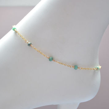 NEW Gold Anklet, Mint Green Chrysoprase Gemstones, Genuine Stone, Gold or Sterling Silver Chain, Dainty Summer Jewelry, Free Shipping