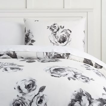 The Emily & Meritt Bed of Roses Duvet Cover + Sham, Black & White