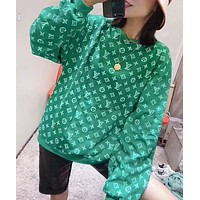 LV Louis Vuitton New fashion monogram print long sleeve top sweater women Green
