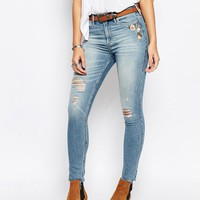 Abercrombie & Fitch High Waist Skinny Jeans With Floral Embroidery