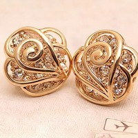 HOLLOW OUT FLOWER RHINESTONE EARRINGS for girls