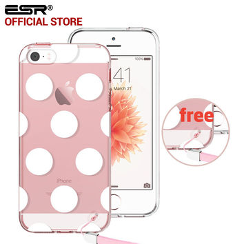 ESR One Piece Hybrid Case Soft TPU Corner Hard PET Back Clear case with pattern for iPhone 5/5s/5se