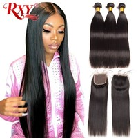 RXY Brazilian Hair Weave Bundles With Closure Straight Hair Bundles With Closure Human Hair Bundles With Closure Sale Non Remy