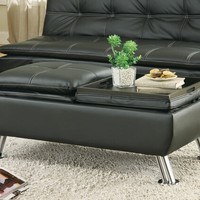 A.M.B. Furniture & Design :: Living room furniture :: Ottomans & Footstools :: Black leather like vinyl storage ottoman with flip top trays and chrome finish legs
