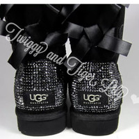 Crystal Bling Ugg Bailey Bow Boots made with Genuine Swarovski Crystals in Jet Hematite