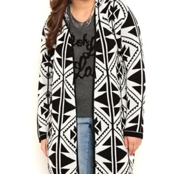Plus Size Long Sleeve Large Aztec Print Blanket Sweater Duster