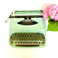 Vintage Typewriter Mint Green 50's Querty Keyboard with Original Carrying case