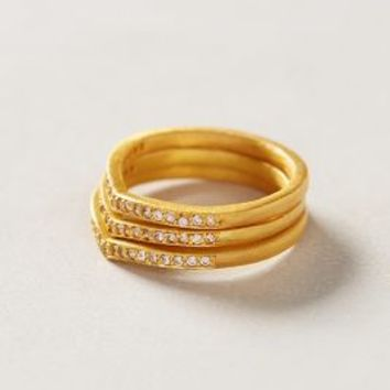 Sparked Circlet Ring Set by Anthropologie Gold 7 Jewelry