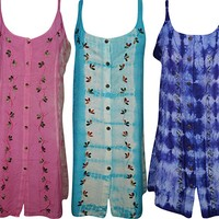 Mogul Interior Wholesale Lot Of 3 Womens Shift Dress Button Front Tie Back Embroidered Sundress SM