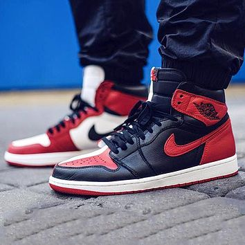 Bunchsun Air Jordan 1 black and white red splicing high-top shoes