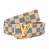 Louis Vuitton LV white plaid LV logo buckle belt free delivery 110cm