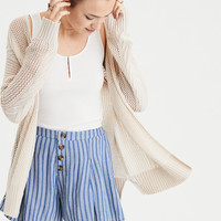 AE Mesh Cable Knit Cardigan, Oatmeal