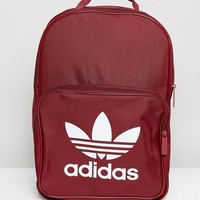 Adidas Orignals Classic Backpack With Trefoil Logo In Burgundy at asos.com