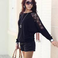 Loose-Fitting Style Splicing Lace Batwing Sleeve T-Shirt For Women from Hester