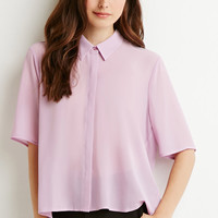 Pleated-Back Crepe Shirt