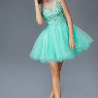 G2122 Embroidered High Neck Homecoming Cocktail Dress