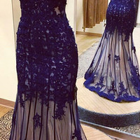 V-neck Royal Blue Applique Lace Prom Dresses Evening Dress