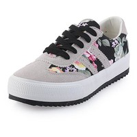 Flower Canvas Lace Up Flat Sneakers